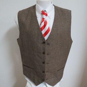 3XL Brown Slim Fit Mens Wool Bl #08Z Suit Vest